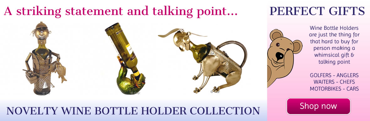 Novelty Metal & Resin Wine Bottle Holders for that Perfect Gift