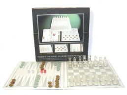3 in 1 Glass Board Games, Chess, Draughts, Backgammon