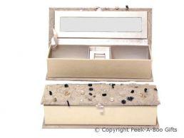 Grey Velour Oblong Jewellery Box