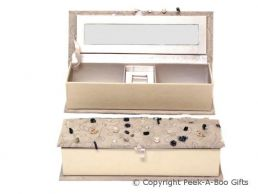 Grey Velour Oblong Jewellery Box