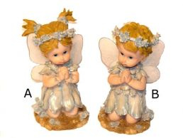 Kneeling Fairy Children Cream & Gold Figurine Ornament 22cm