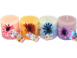 "Gerbera Scented 3"" Pillar Candle with Flower"