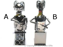 Metal Novelty Wine Waiter Shaped Wine or Spirit Bottle Holder