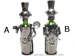 Metal Novelty Chef Holding Tools Shaped Wine or Spirit Bottle Holder