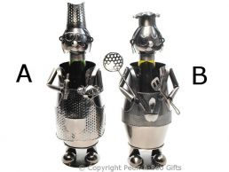 Metal Novelty Large Fat Chef Shaped Wine or Spirit Bottle Holder