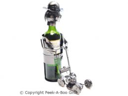 Metal Novelty Lawnmower Man Shaped Wine or Spirit Bottle Holder