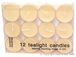 12 pack Tealight 4 Hour Burn Church Candles in Clear Acrylic Box