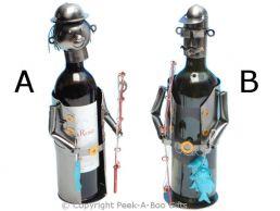 Metal Novelty Angler/Fisherman Shaped Wine or Spirit Bottle Holder