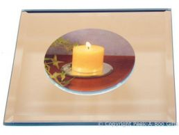 Mirror Candle Holder Plate 5'' Square