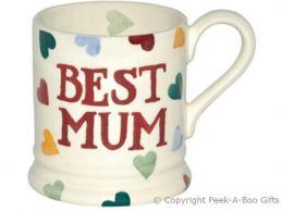 Emma Bridgewater Best Mum 1/2 Pint Polka Hearts Mug