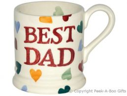 Emma Bridgewater Best Dad 1/2 Pint Polka Hearts Mug