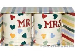 Emma Bridgewater Polka Hearts Mr & Mrs 1/2 Pint Mugs Twin Boxed
