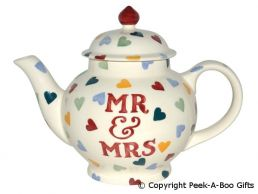 Emma Bridgewater Polka Hearts Mr & Mrs Large 4 Cup Large Teapot