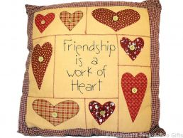 Filled Cushion with Embroidered Message Friendship is a Work of Heart