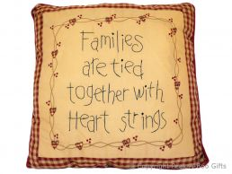 Embroidered Message Cushion Family is Tied Together with Heart Strings