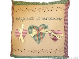 Filled Cushion with Embroidered Message Happiness is Homemade 16""