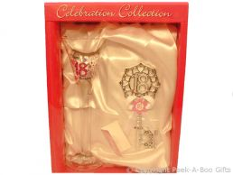 18th Birthday Large Decorated Clear Flute Glass & Matching 18th Key Gift Set