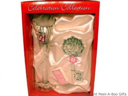 21st Birthday Large Decorated Clear Flute Glass & Key Gift Set