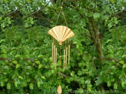 Wooden Fan Shape Fuji Wind Chime with 6 Copper Coloured Metal Chimes