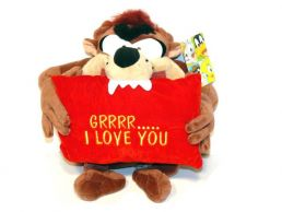Taz-Tazmanian Devil with I Love You Message Pillow Plush Soft Toy