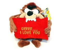 Taz-Tazmanian Devil with I Love You Message Pillow Plush Soft Toy