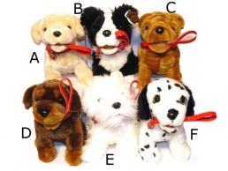 9.5'' Sitting Puppies with Lead Soft Toy