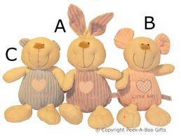 Nursery Baby Pastel Animal Assortment Soft Toy
