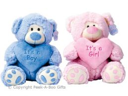 "Sitting Bear It's a Boy or It's a Boy or Girl Soft Toy 10""/25cm"