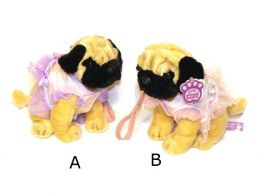 Pug Dog Sitting in Dress & Lead 9.5'' Soft Toy