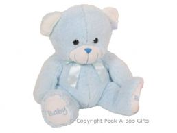 12'' Baby Boy Blue Embroidered Bear Soft Toy