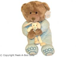 Grey Patch Bear Soft Toy in Blue Baby Grow Holding Bunny Soft Toy