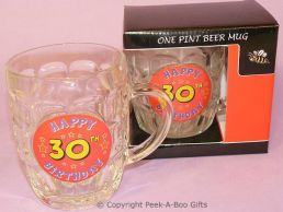 30th Birthday Traditional Pint Dimple Beer Glass Boxed