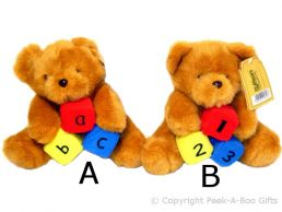Soft Toy Bear with ABC or 123 Blocks Medium