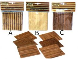Set of 6 Bamboo Wood Coasters 9cm Square