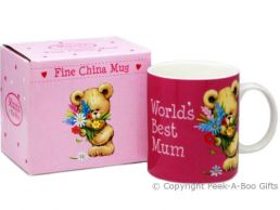 World's Best Mum Teddy Bear Holding Flowers Cerise Fine China Mug