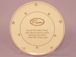 Mum Cream & Gold Plate with Free Stand