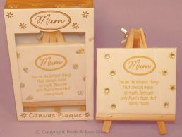 Mum Cream & Gold Canvass Plaque on Easel