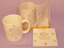 Mum Cream & Gold Gift Mug & Coaster Set