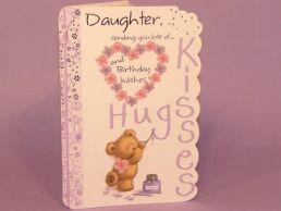 Daughter Birthday Card Hugs & Kisses Bear with Glitter Heart -C75