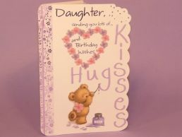 Daughter Birthday Card Hugs & Kisses Bear with Glitter Heart -C75