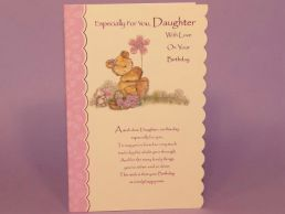 Daughter Birthday Card Bear Holding Flower with Mouse - Glitter -C75