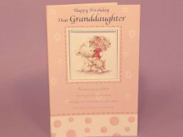 GrandDaughter Birthday Card Bear Holding Bouquet Square Panel-C75