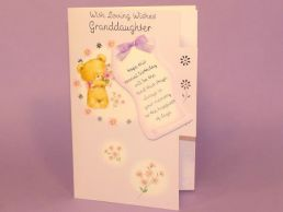 GrandDaughter Birthday Card 3D Keepsake-Bears Lilac-Die Cut-C75