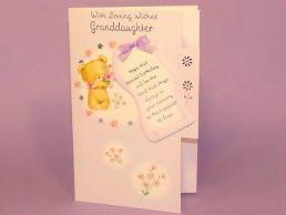 GrandDaughter Birthday Card 3D Keepsake-Bears Lilac-Die Cut-C75