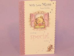Mum Birthday Card Bear in Window - Special Wishes -C75
