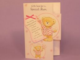 Mum Birthday Card 3D Keepsake-Bears Pink-Die Cut-Glitter-C75