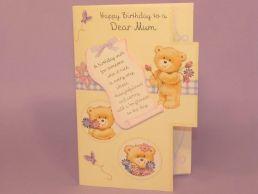 Mum Birthday Card 3D Keepsake-Bears Lilac & Cream-Die Cut-C75