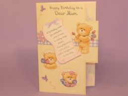Mum Birthday Card 3D Keepsake-Bears Lilac & Cream-Die Cut-C75