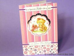 Sister in Law Birthday Card 3D Cute Bear & Barrow-Glitter-C75