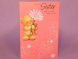 Sister Birthday Card Cute Bear Holding Daisy Cerise-C75